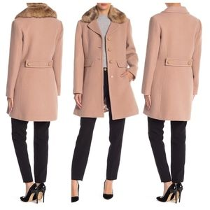 Kate Spade fawn wool button front twill coat Sz L